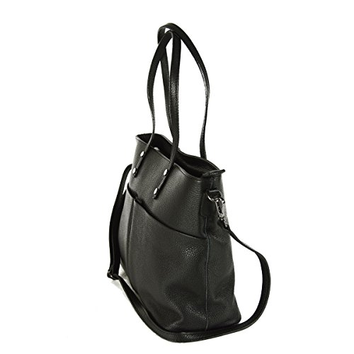 Borsa Donna A Spalla Shopper In Pelle Colore Nero - Pelletteria Toscana Made In Italy - Borsa Donna