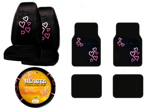 A Set of 4 Universal Fit Red and Pink Hearts Plush Carpet Floor Mats and 1 Comfort Grip Steering Wheel Cover and A Set of 2 Universal Fit Seat Covers