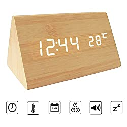 Bioeilife Wooden Alarm Clock, Triangle USB Digital Alarm Desk Clock With Time Temperature And Voice Control (Bamboo(White LED))