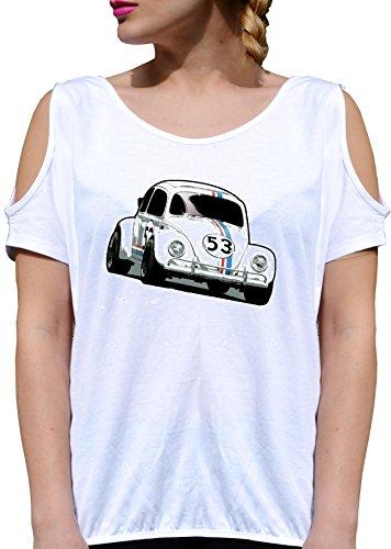T SHIRT JODE GIRL GGG27 Z2993 ITALIAN CAR 53 RACE CARTOON ACTION FUN VINTAGE FASHION COOL BIANCA - WHITE S