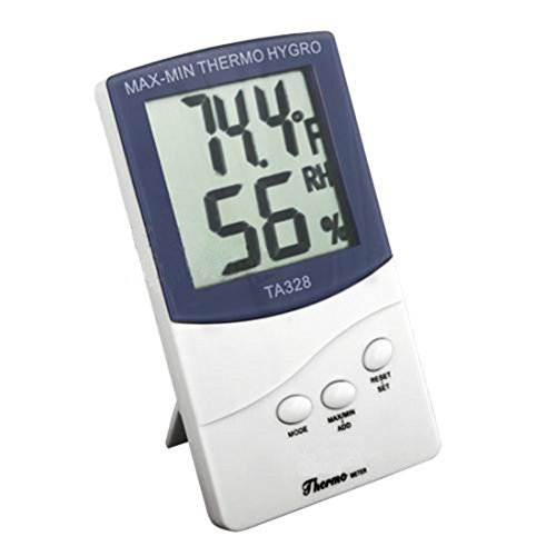 White Meter Temperature Digital LCD Indoor/Outdoor Thermometer Hygrometer