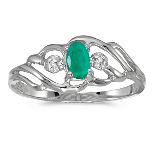 Jewels By Lux 10k White Gold Genuine Green Birthstone Solitaire Oval Emerald And Diamond Wedding Engagement Ring - Size 8 (1/6 Cttw.) ()