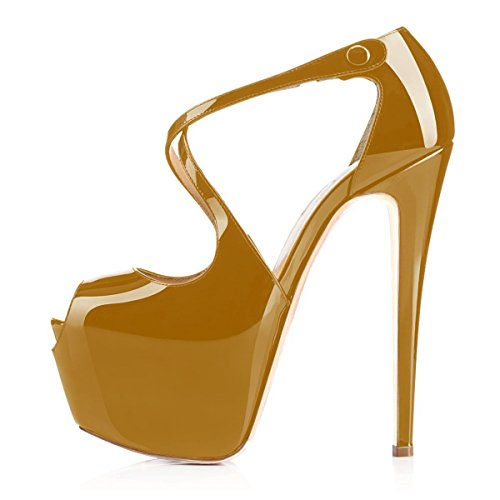 Brown Pumps Buckle Heel Strap Peep Sandals Womens Platfrom Toe Ubeauty Multicolor High Court Cross Super Shoes w1UAZqaf