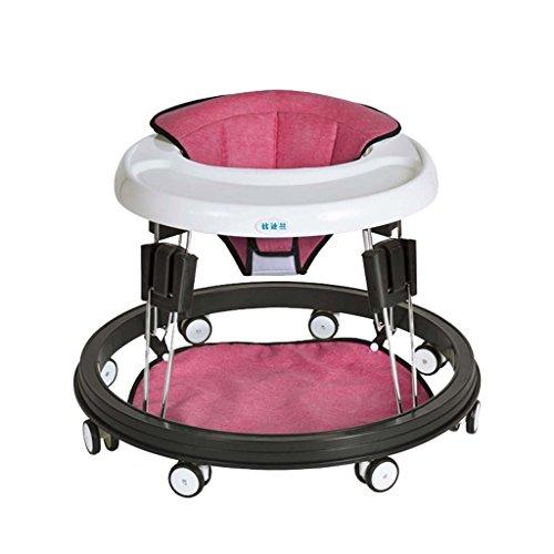 Baby Walker - Con Ruedas Multifunción Niño Anti-Rollover Bebé One-Touch Plegable Baby Walker Aprende A Manejar 3Rd Gear Ajustable,Red