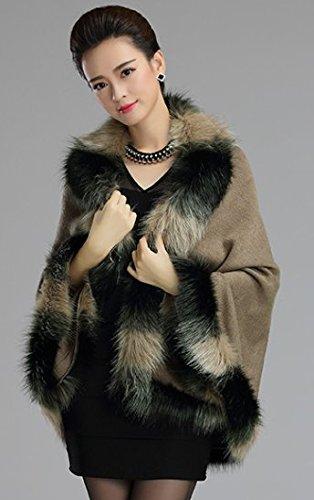 Mode Style Luxe Fourrure PLAER Cap en Cape de Chale Kaki Fausse Femmes Fur Chaud Manteau de des wFddqEC