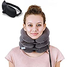 DaviSMART Cervical Neck Traction ✮ Effective Neck Pain Remedy at Home ✮ Inflatable & Adjustable Neck Stretcher Collar Device + Eye Mask Bonus (Gray)