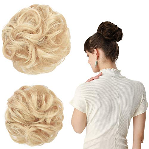REECHO Women's Thick 2PCS Hair Scrunchies Made of Hair Curly Wavy Updo Hair Bun Extensions Messy Hairpieces - Natural Blonde (Cute Updo Hairstyles For Short Curly Hair)