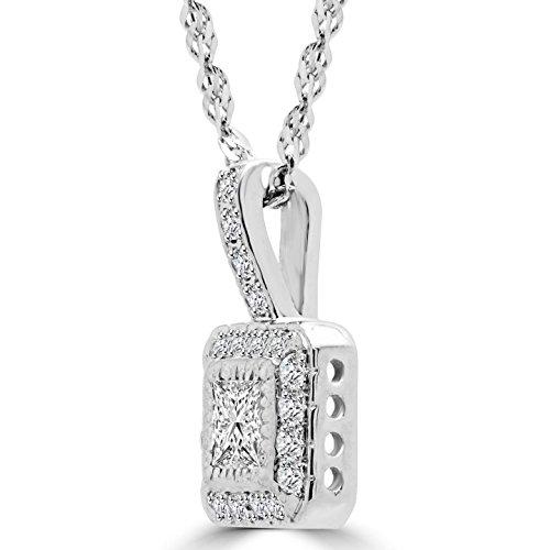 Majesty Diamonds Collier en or blanc 14carats avec pendentif auréole taille princesse orné de diamants 1/2carat