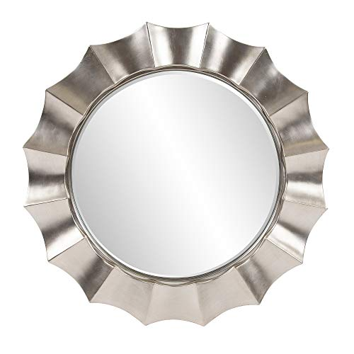 Howard Elliott Corona Round Hanging Wall Mirror, Resin Rippling Wave Design, Glossy -