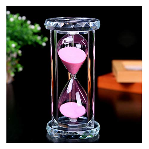 SZAT PRO Hourglass Sand Timer Clock Romantic Mantel Office Desk Coffee Table Book Shelf Curio Cabinet Christmas Birthday Present Gift Box Package(Pink,Crystal,30 Minutes)