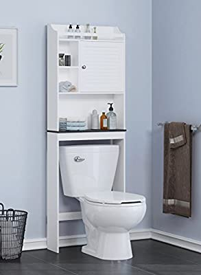 Spirich Home Bathroom Shelf over the toilet, Bathroom Cabinet Organizer over toilet with Louver Door, White Finish