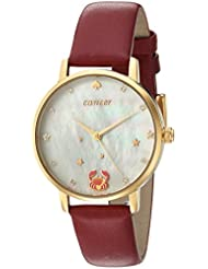 kate spade new york Womens Metro Quartz Stainless Steel and Leather Casual Watch, Color:Red (Model: KSW1191)