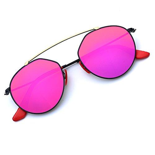 BNUS Italy Made Fashion polarized Sunglasses for women UV Mirrored Lens Oversize Metal Frame (Frame: Black/Lens: Magenta Flash, ()
