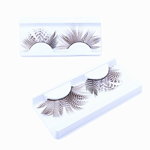 ECBASKET Fancy Party False Feather Eyelashes Brown White Feather style false lashes for Party ,Night (White Feather Lashes)