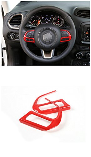 FMtoppeak Red Steering Wheel Buttons Cover Trim Car Styling Auto Accessories Interior Decoration Sequins for Jeep Renegade 2014 UP