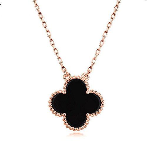 Luziang Collar con Colgante Cuatro Hojas Hierba Collar 925 Plata de Ley Chapado en Oro Rosa Oro cinturón Diamante Negro...