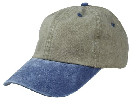 DALIX Mens Pigment Dyed Washed Cotton Cap - Adjustable Hat 6 Panel Unstructured (Heavy Washed Navy-Khaki) (Mens Pigment)