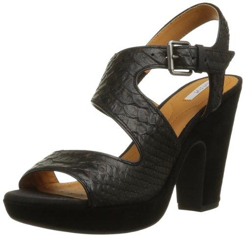 Geox Women's Nurit 3 Platform Sandal,Black Snake Print,35 EU/5 M - Womens Geox Snake