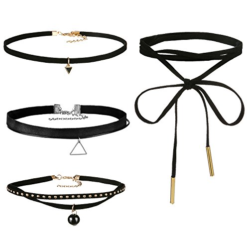 [Areke Leather Chain Choker Necklace for Women Girls, Gothic Tassel Velvet Necklaces Adjustable Set Style 4] (Flower Child Costumes Ideas)