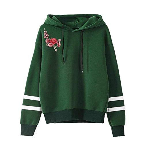 Womens Cappuccio green2 Felpa Manica Pullover piccolo Con Stile Semplice Maglione Comradesn Lunga Cappuccio TCwwf