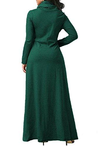 Coolred-femmes Enveloppent Robe Maxi Couleur Unie Sexy Poche Robe De Soirée Couleur Noirâtre Mulit Vert