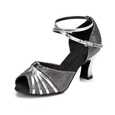 Dance Shoes Quietness Zapatillas de baile para mujer con purpurina brillante latino/salsa sandalias/talón práctica de talón/principiante dorado