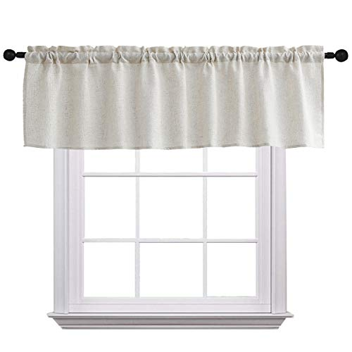 Curtain Valances for Windows Burlap Linen Window Curtains for Kitchen Living Dining Room 58 x 15 inches Rod Pocket 1 Valance Crude ()