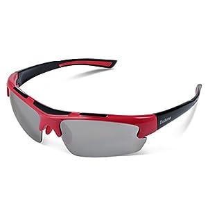 Duduma Polarized Designer Fashion Sports Sunglasses for Baseball Cycling Fishing Golf Tr62 Superlight Frame (red/black)