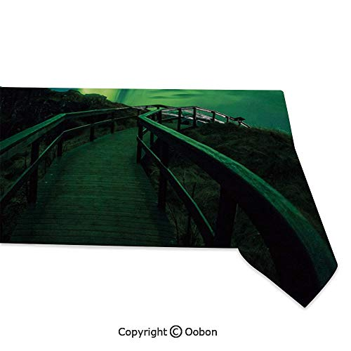 Space Decorations Tablecloth, Wooden Bridge Solar Sky Scenic Radiant Rays Arctic Magic Scenery, Rectangular Table Cover for Dining Room Kitchen, W60xL84 inch