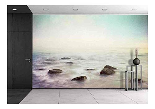 Mist Rising from a Rocky Ocean Shore Wall Decor