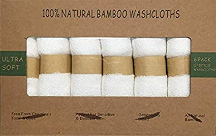 Organic Bamboo Washcloths.100% Organic. Antibacterial, Gentle for Sensitive Skin-Acne, Eczema, Rosacea. Ultra Soft WashCloths (6-Pack) by Lala Babies (White)