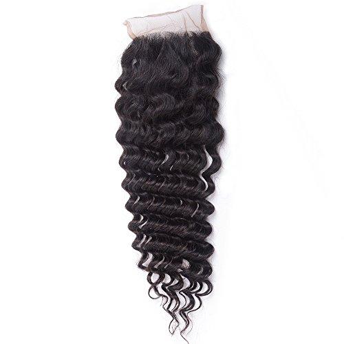 Unice Hair Brazilian Virgin Hair Deep Wave 4x4 Lace Closure Free Part Natural Color(14inch)