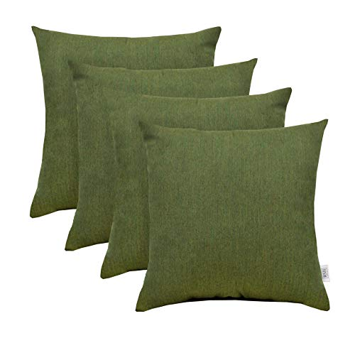 RSH Décor Set of 4 Indoor/Outdoor Square Throw Pillows made of Sunbrella Canvas Fern Green (20