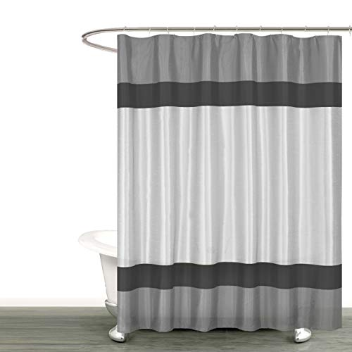 Silk Silver Black Stripe - Bathroom and More Collection Gray Silver and Black Fabric Shower Curtain with Stripe Design (72