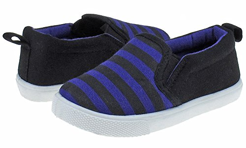 Capelli New York Toddler Boys Striped Printed Canvas Slip-On Shoe with Double Elastic Gores Blue Combo -