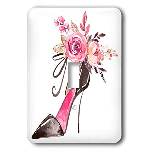 3dRose Anne Marie Baugh - Illustrations - Pretty Floral High Heel Shoe Illustration - Light Switch Covers - single toggle switch (lsp_295513_1) - Floral Single Toggle