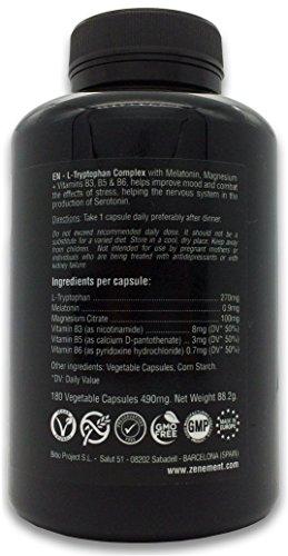 L-Triptófano Complex con Melatonina, Magnesio + Vitaminas B3, B5 y B6, 180 Cápsulas | Regula el estado de ánimo y combate el estrés, precursor de Serotonina ...
