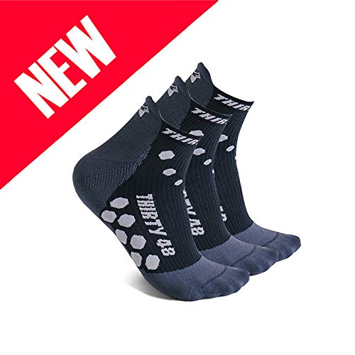 Thirty 48 Compression Low-Cut Running Socks Men Women (Large - Women 9-10.5 // Men 10-11.5, [3 Pairs] Black/Gray)