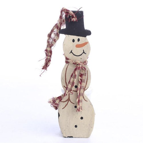 Group of 6 Painted Wooden Primitive Snowman Ornaments with Homespun Hanger