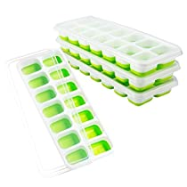 FSDUALWIN Ice Cube Tray, Easy Release Silicone Ice Cube Tray,14 Ice Molds,Pack of 4,Keep Drink Cool,LFGB Certified,Spill-Resistant Lid Included,Easy to Use and Dishwasher Safe