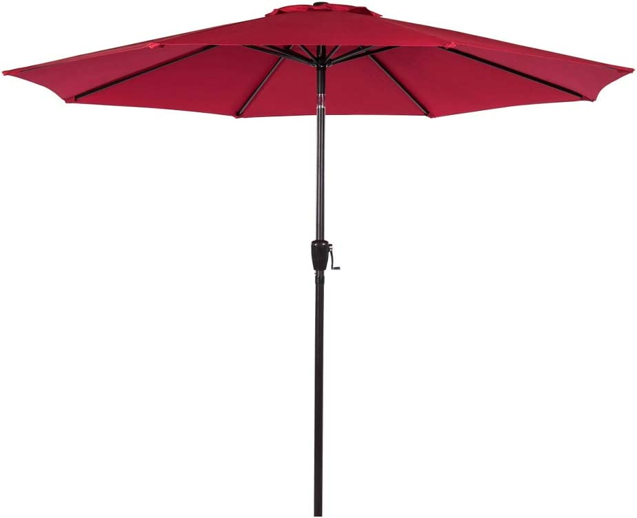 Sundale Outdoor 9 Feet Aluminum Market Umbrella Table Umbrella with Crank and Auto Tilt for Patio, Garden, Deck, Backyard, Pool, 8 Alu. Ribs, 100 Polyester Canopy, Red