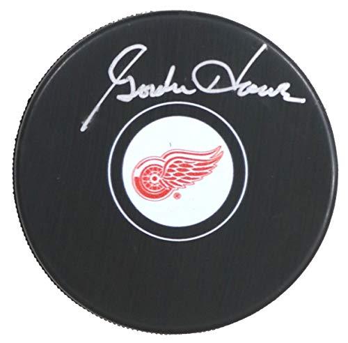 Howe Puck Gordie Autographed - Gordie Howe Detroit Red Wings Signed Autographed Red Wings Logo NHL Hockey Puck COA