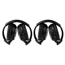 OUKU 2 Pack of Two Channel Folding Universal Rear Entertainment System Infrared Headphones Wireless IR DVD Player Head Phones for in Car TV Video Audio Listening
