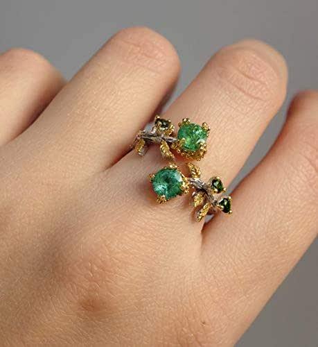 Amazon.com: LoveMirror: Green Emerald Ring