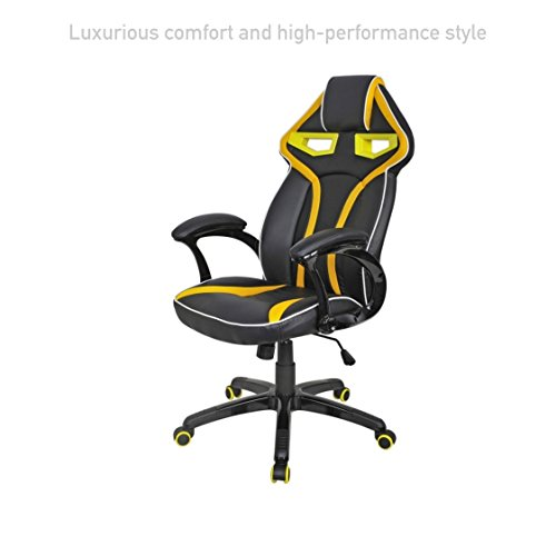 Executive Racing Car Style High Back Computer Gaming Chairs Comfortable Bucket Seat Swivel Desk Task Posture Support Home Office Furniture #1572ylw (Best 2014 Weight Scales)
