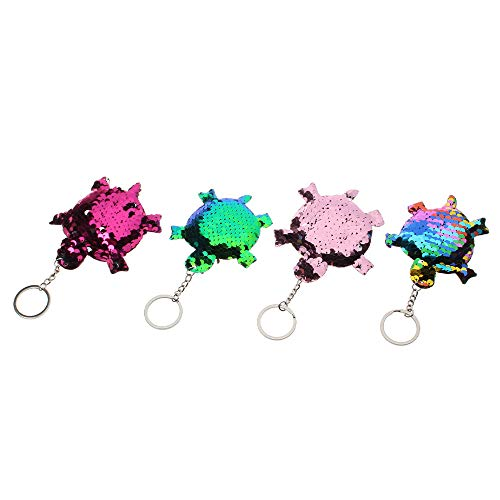 NUOMI 4 Pack Sequin Keychain Turtle Glitter Key Ring, Party Favor Bag Purse Pendants Charm, Novelty Keychain for Kids Party Gifts Supplies