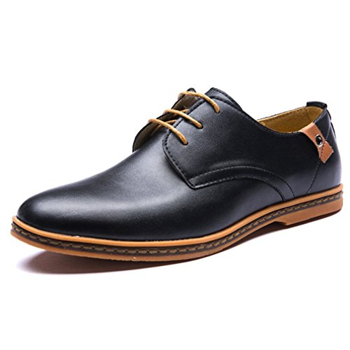 Maybest Mens Business Casual Lace Up Oxford Derby Smooth Leather Height Increasing Pointed Toe Shoes Black