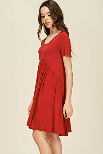 with Pockets Mini Dresses Sleeve Women's Annabelle Neck Red Scoop Front Waist Empire Comfy Pleated Short TaAOx74