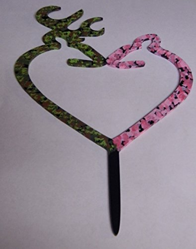 Wedding Reception Green Pink Camo Deer and Doe Hunter Cake Topper ()