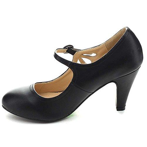 Chase & Chloe Dames Ronde Neus Half Hak Mary Jane Pumps-schoenen Pumps Zwart